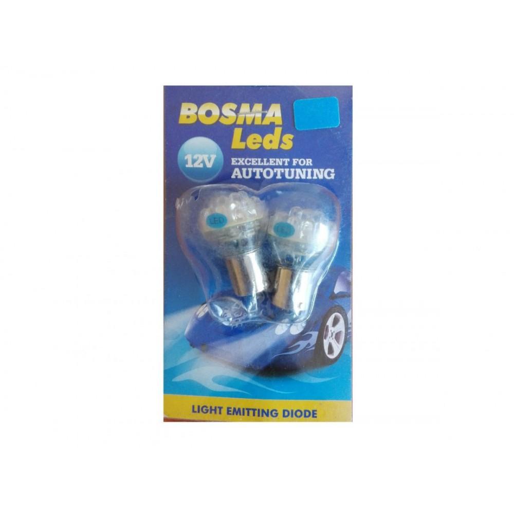 Żarówki diodowe 24 LED BA15s 12V BOSMA BLUE